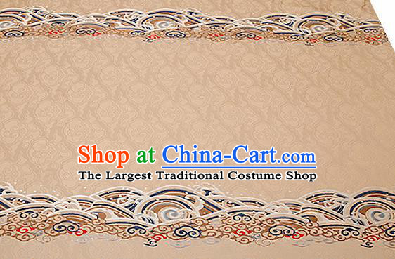 Traditional Chinese Khaki Satin Brocade Drapery Classical Embroidery Clouds Pattern Design Cushion Silk Fabric Material