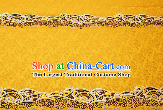 Traditional Chinese Yellow Satin Brocade Drapery Classical Embroidery Clouds Pattern Design Cushion Silk Fabric Material