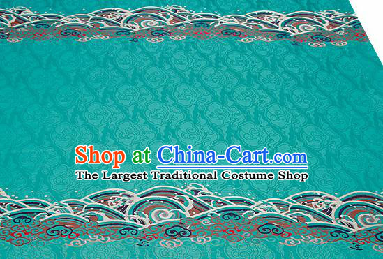 Traditional Chinese Blue Satin Brocade Drapery Classical Embroidery Clouds Pattern Design Cushion Silk Fabric Material