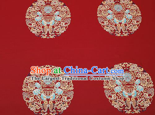 Traditional Chinese Red Satin Brocade Drapery Classical Embroidery Fishes Lotus Pattern Design Cushion Silk Fabric Material