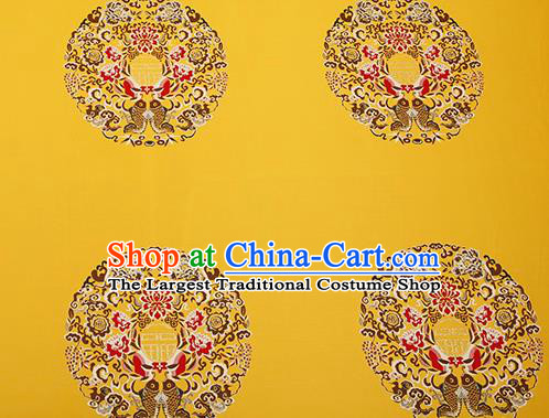 Traditional Chinese Yellow Satin Brocade Drapery Classical Embroidery Fishes Lotus Pattern Design Cushion Silk Fabric Material