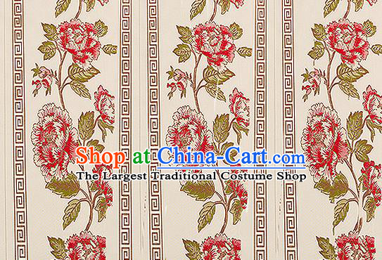 Traditional Chinese Classical Beige Satin Brocade Drapery Embroidery Peony Pattern Design Cushion Silk Fabric Material