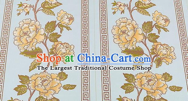 Traditional Chinese Classical Blue Satin Brocade Drapery Embroidery Peony Pattern Design Cushion Silk Fabric Material