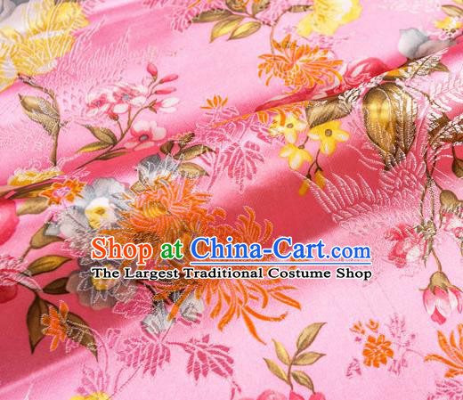 Traditional Chinese Classical Pink Satin Brocade Drapery Chrysanthemum Peony Pattern Design Qipao Dress Silk Fabric Material