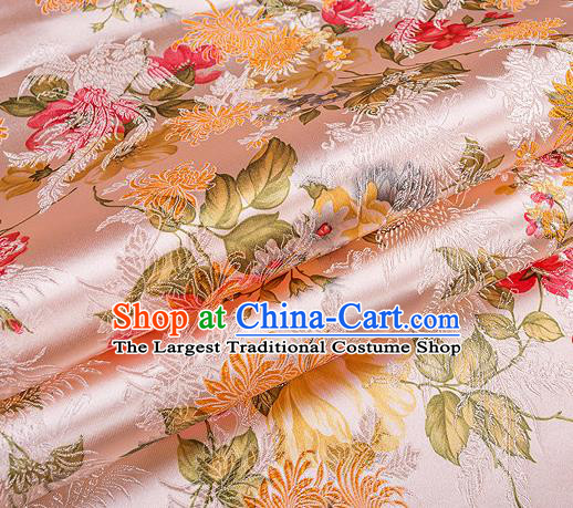 Traditional Chinese Classical Light Pink Satin Brocade Drapery Chrysanthemum Peony Pattern Design Qipao Dress Silk Fabric Material
