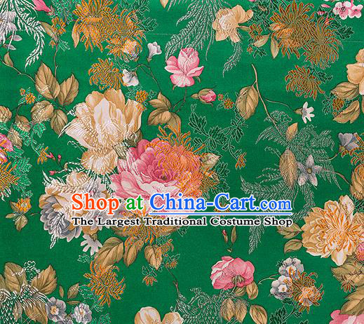 Traditional Chinese Classical Deep Green Satin Brocade Drapery Chrysanthemum Peony Pattern Design Qipao Dress Silk Fabric Material