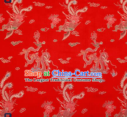 Traditional Chinese Classical Red Satin Brocade Drapery Dragon Phoenix Pattern Design Qipao Dress Silk Fabric Material
