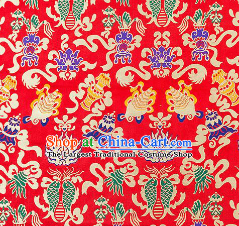 Traditional Chinese Red Nanjing Brocade Drapery Classical Fishes Pattern Design Satin Qipao Dress Silk Fabric Material