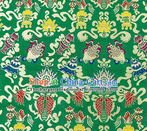 Traditional Chinese Green Nanjing Brocade Drapery Classical Fishes Pattern Design Satin Qipao Dress Silk Fabric Material