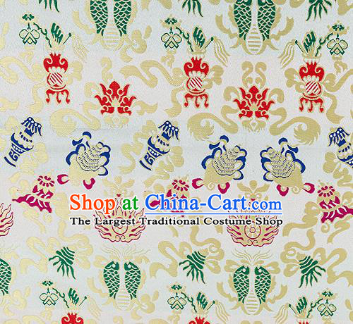 Traditional Chinese White Nanjing Brocade Drapery Classical Fishes Pattern Design Satin Qipao Dress Silk Fabric Material