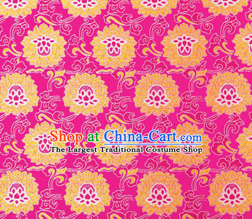 Traditional Chinese Rosy Brocade Drapery Classical Lotus Pattern Design Satin Tang Suit Silk Fabric Material