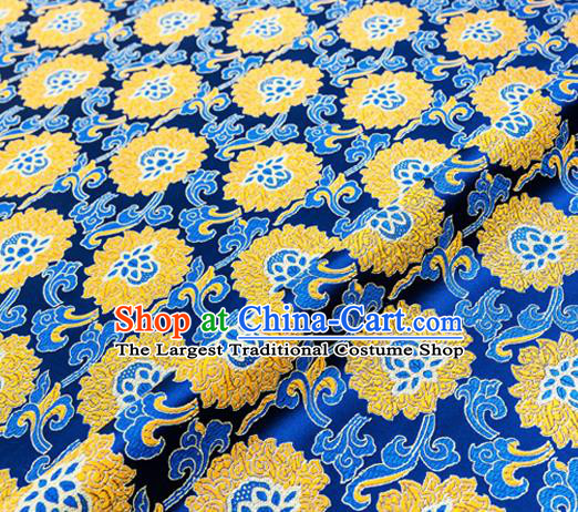 Traditional Chinese Royalblue Brocade Drapery Classical Lotus Pattern Design Satin Tang Suit Silk Fabric Material