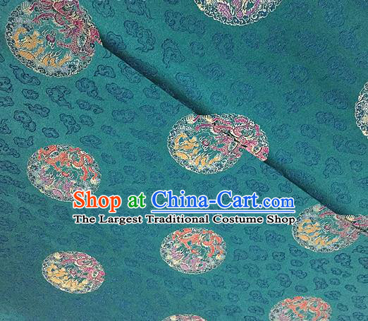 Traditional Chinese Tang Suit Silk Fabric Blue Brocade Material Classical Round Dragons Pattern Design Satin Drapery