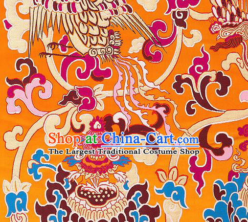 Traditional Chinese Tang Suit Silk Fabric Yellow Nanjing Brocade Material Classical Dragons Pattern Design Satin Drapery