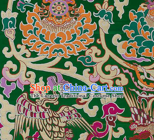 Traditional Chinese Tang Suit Silk Fabric Green Nanjing Brocade Material Classical Dragons Pattern Design Satin Drapery