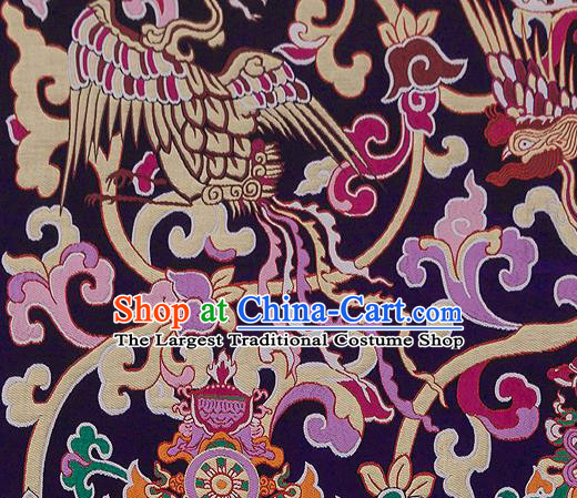 Traditional Chinese Tang Suit Silk Fabric Purple Nanjing Brocade Material Classical Dragons Pattern Design Satin Drapery