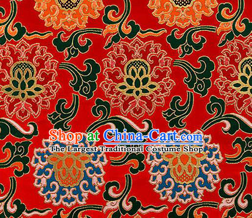 Traditional Chinese Tang Suit Silk Fabric Red Nanjing Brocade Material Classical Lotus Pattern Design Satin Drapery
