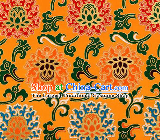 Traditional Chinese Tang Suit Silk Fabric Golden Nanjing Brocade Material Classical Lotus Pattern Design Satin Drapery