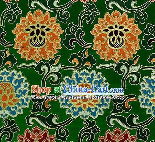Traditional Chinese Tang Suit Silk Fabric Green Nanjing Brocade Material Classical Lotus Pattern Design Satin Drapery