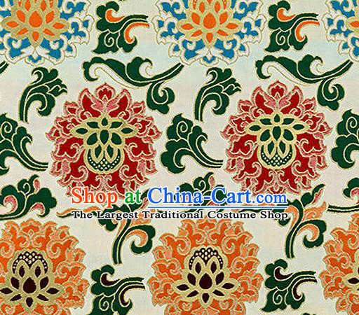 Traditional Chinese Tang Suit Silk Fabric White Nanjing Brocade Material Classical Lotus Pattern Design Satin Drapery