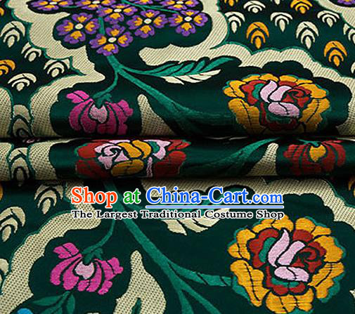 Traditional Chinese Tang Suit Green Nanjing Brocade Material Silk Fabric Classical Flowers Pattern Design Satin Drapery