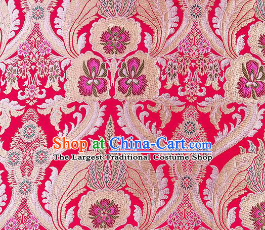 Traditional Chinese Tang Suit Rosy Nanjing Brocade Material Silk Fabric Classical Pattern Design Satin Drapery