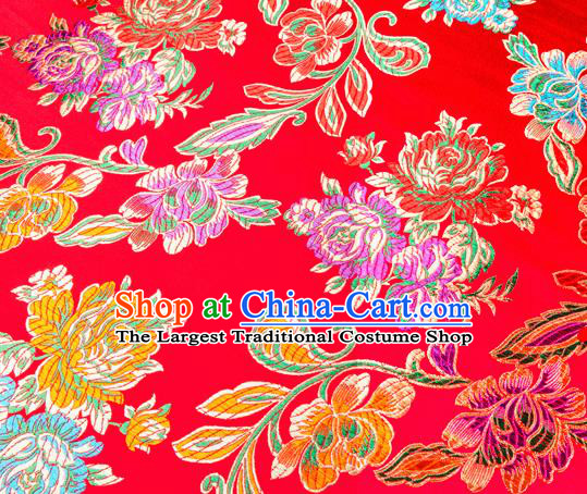Traditional Chinese Tang Suit Silk Fabric Red Brocade Material Classical Peony Pattern Design Satin Drapery