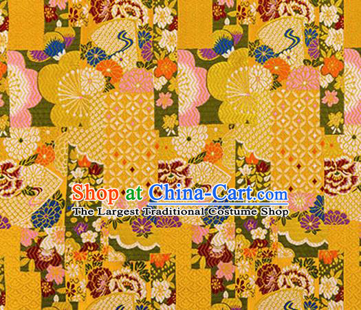 Asian Japanese Traditional Fabric Yellow Brocade Silk Material Classical Pattern Design Satin Drapery
