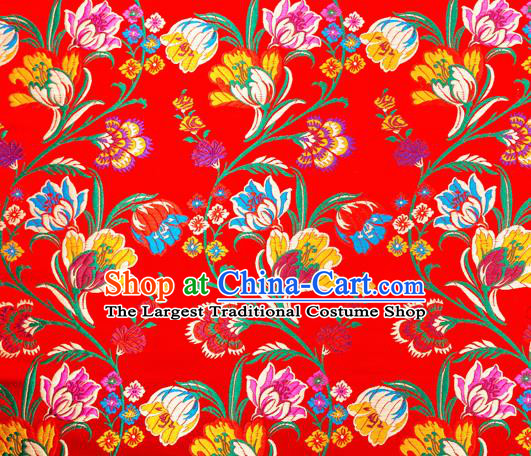 Asian Chinese Traditional Fabric Red Brocade Silk Material Classical Tulipa Pattern Design Satin Drapery