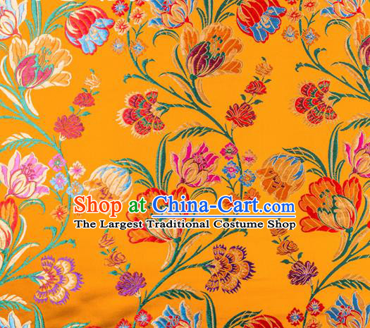 Asian Chinese Traditional Fabric Yellow Brocade Silk Material Classical Tulipa Pattern Design Satin Drapery