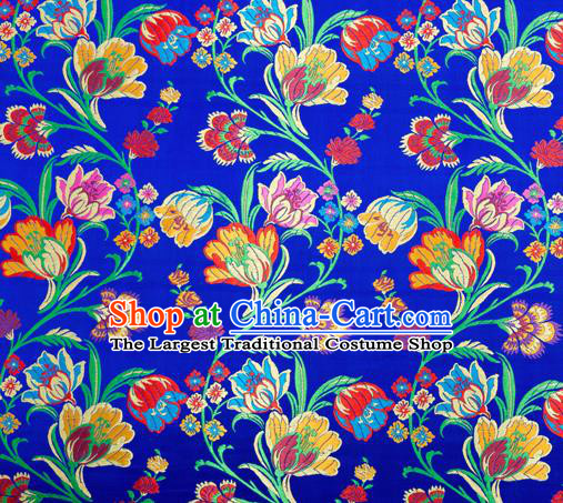 Asian Chinese Traditional Fabric Royalblue Brocade Silk Material Classical Tulipa Pattern Design Satin Drapery