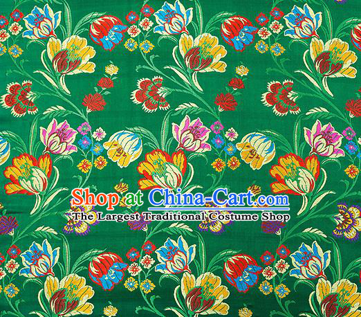 Asian Chinese Traditional Fabric Green Brocade Silk Material Classical Tulipa Pattern Design Satin Drapery