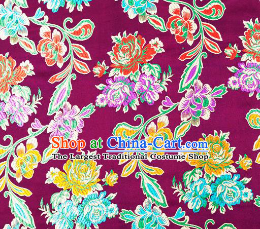 Traditional Chinese Tang Suit Silk Fabric Purple Brocade Material Classical Peony Pattern Design Satin Drapery