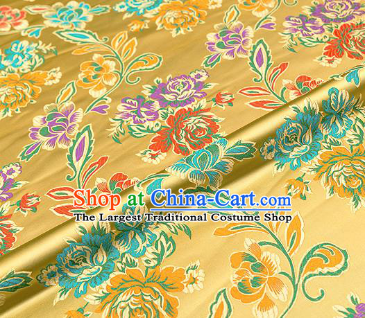 Traditional Chinese Tang Suit Silk Fabric Golden Brocade Material Classical Peony Pattern Design Satin Drapery