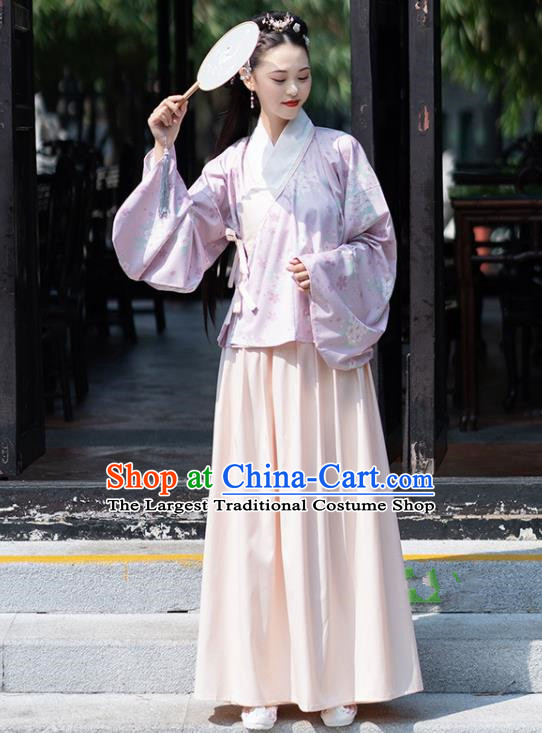 Chinese Ancient Ming Dynasty Nobility Lady Costume Embroidered Blouse and Skirt for Women