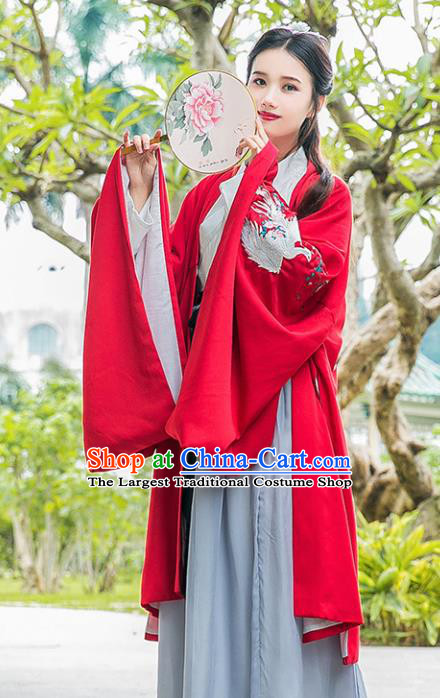Chinese Ancient Jin Dynasty Princess Red Hanfu Dress Embroidered Costumes Complete Set for Rich Women