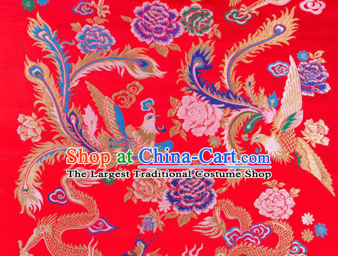 Asian Chinese Traditional Red Satin Fabric Tang Suit Brocade Silk Material Classical Phoenix Peony Pattern Design Drapery