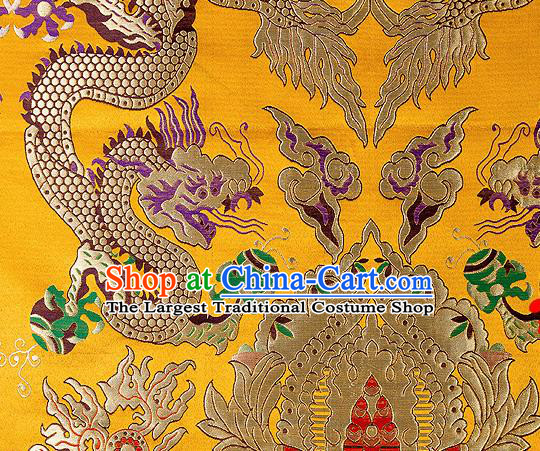 Asian Chinese Traditional Yellow Satin Fabric Tang Suit Nanjing Brocade Silk Material Classical Double Dragons Pattern Design Drapery