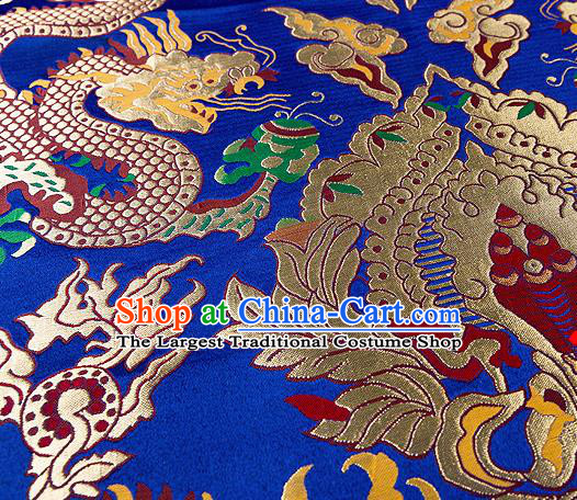 Asian Chinese Traditional Royalblue Satin Fabric Tang Suit Nanjing Brocade Silk Material Classical Double Dragons Pattern Design Drapery