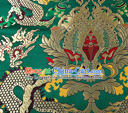 Asian Chinese Traditional Green Satin Fabric Tang Suit Nanjing Brocade Silk Material Classical Double Dragons Pattern Design Drapery