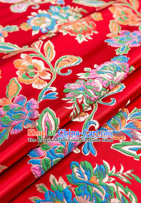 Asian Chinese Traditional Satin Fabric Tang Suit Red Nanjing Brocade Silk Material Classical Peony Pattern Design Drapery
