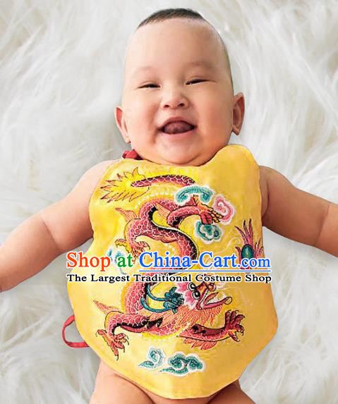 Chinese Classical Yellow Brocade Bellyband Traditional Baby Embroidered Dragon Stomachers for Kids