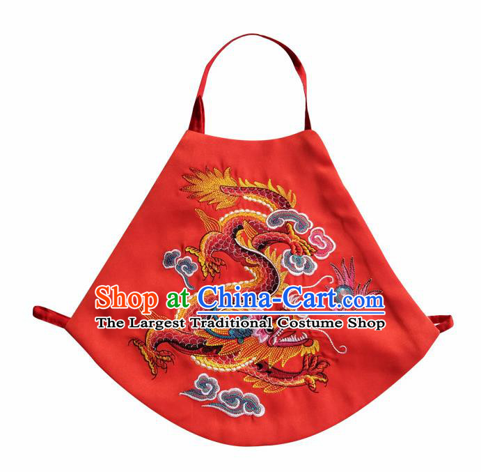 Chinese Classical Red Brocade Bellyband Traditional Baby Embroidered Dragon Stomachers for Kids
