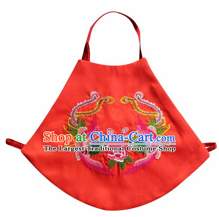 Chinese Classical Red Brocade Bellyband Traditional Baby Embroidered Double Phoenix Stomachers for Kids