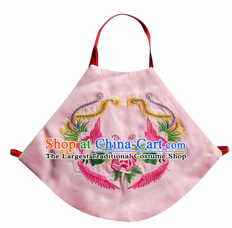 Chinese Classical Pink Brocade Bellyband Traditional Baby Embroidered Double Phoenix Stomachers for Kids