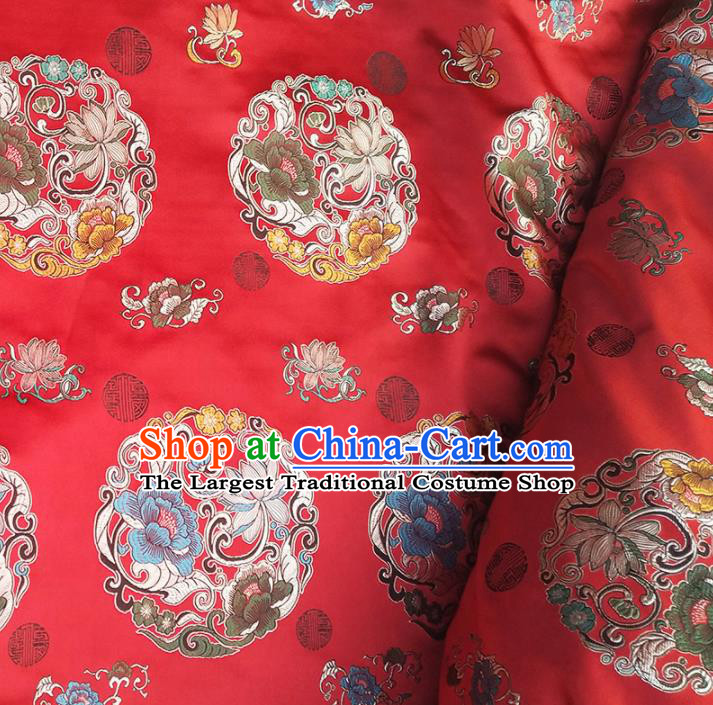 Asian Chinese Traditional Fabric Tang Suit Red Brocade Silk Material Classical Lotus Pattern Design Satin Drapery