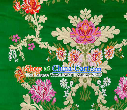 Asian Chinese Traditional Satin Fabric Tang Suit Green Brocade Silk Material Classical Peony Pattern Design Drapery
