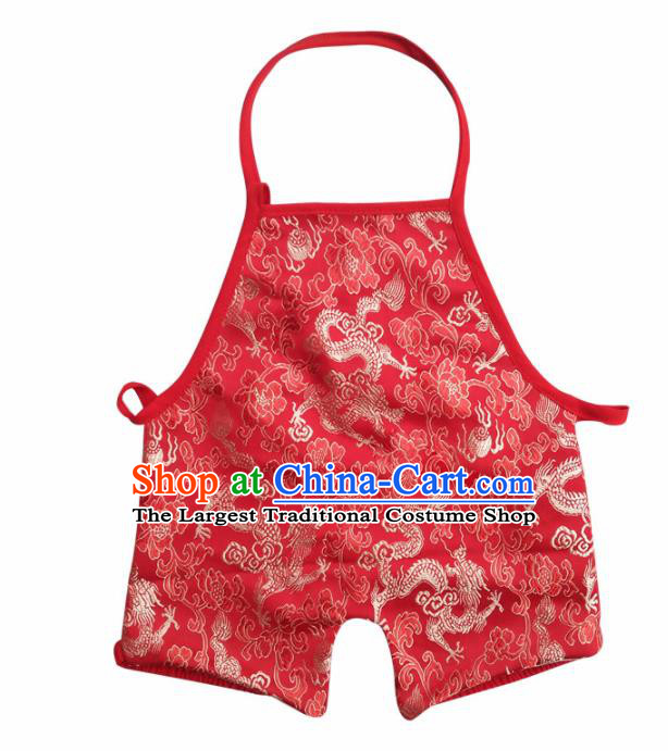 Chinese Classical Red Brocade Bellyband Traditional Baby Embroidered Dragons Pantyhose Stomachers for Kids