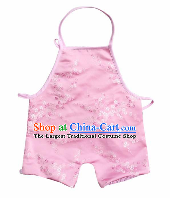 Chinese Classical Pink Brocade Bellyband Traditional Baby Embroidered Plum Blossom Pantyhose Stomachers for Kids