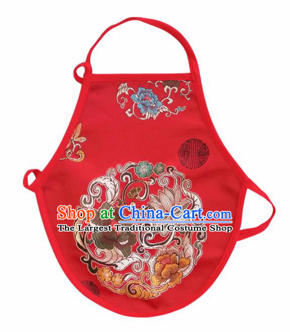Chinese Classical Embroidered Peony Brocade Bellyband Traditional Baby Red Silk Stomachers for Kids